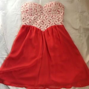 Coral Red Strapless Floral Dress